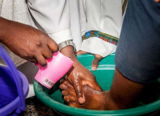 Holy Thursday Liturgy with the washing of the feet at Loyola Jesuit College Abuja, Nigeria