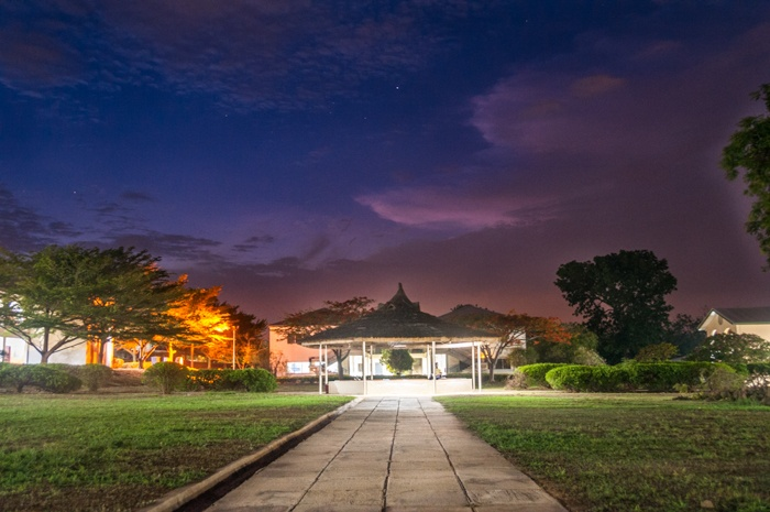 Loyola Jesuit College At Twilight. A view of the gazebo.